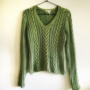 Tyler Boe Green Cable Knit Long Sleeve Sweater